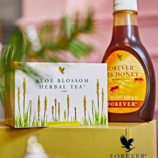 Forever bee honey and forever aloe blossom herbal tea forever living products kuwait عسل نحل طبيعى منتجات فوريفر ليفينغ الكويت شاى اعشاب فوريفر